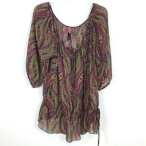 Pure Energy peasant boho blouse paisley print